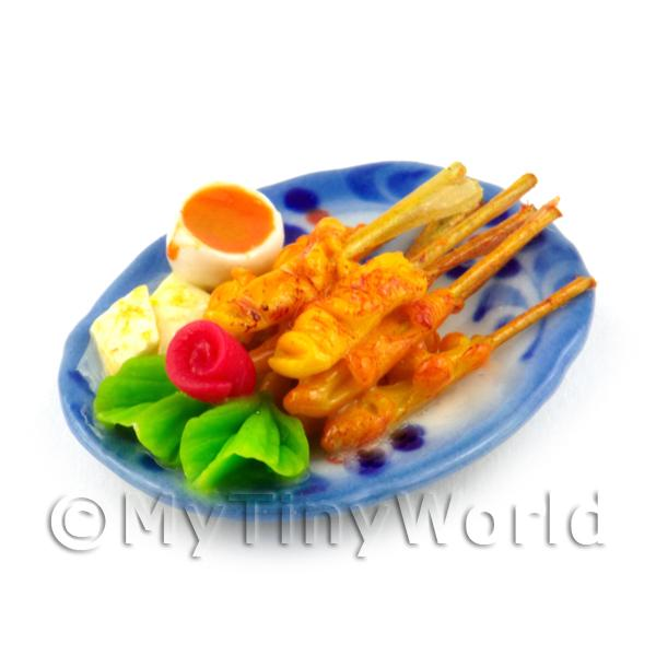 Dolls House Miniature Chicken Satay Skewers on a Ceramic Plate