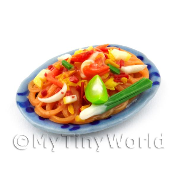 Dolls House Miniature Plate of Stir Fried Noodles With Vegetables