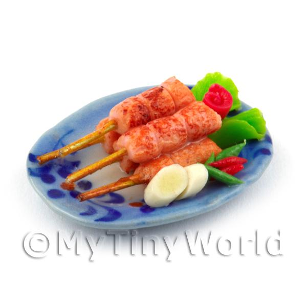 Dolls House Miniature Plate of Cooked Pork Kebabs