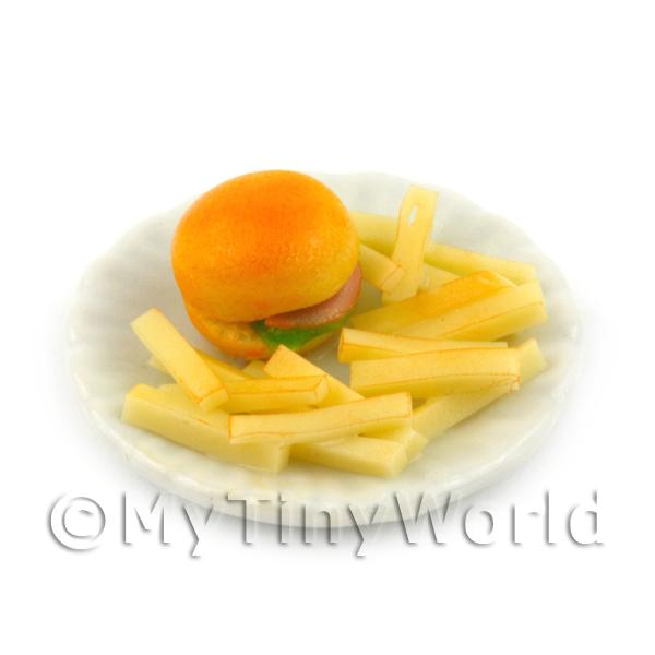 Dolls House Miniature Bacon Burger and Chips