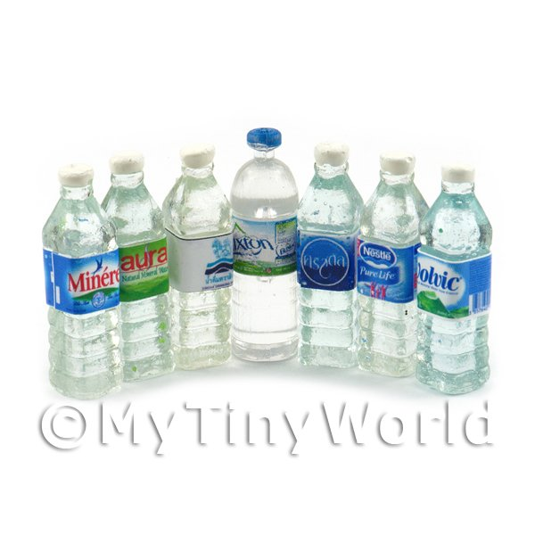 Dolls House Miniature Selection of 7  Water Bottles