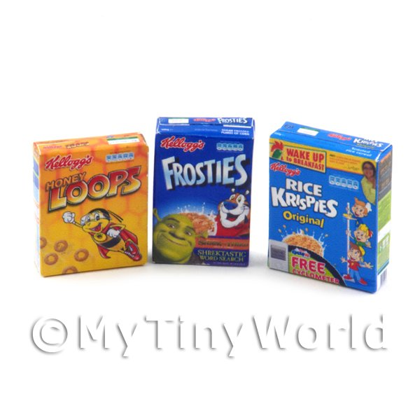 Dolls House miniature Selection Of  3 Popular Cereals