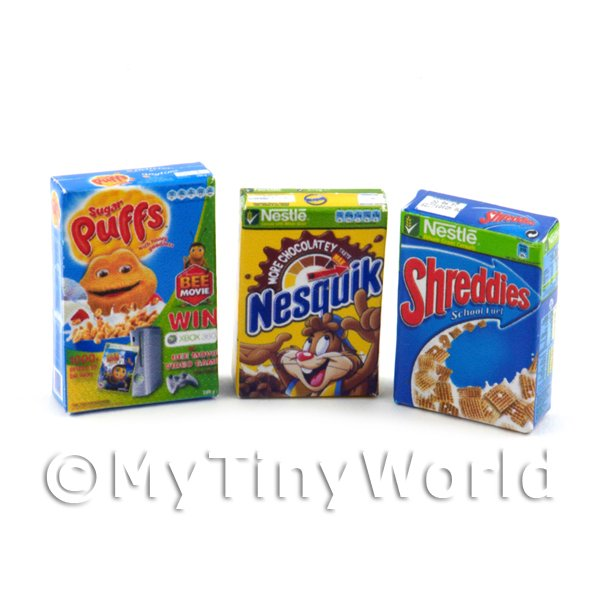 Dolls House Miniature Selection of  3 Cereals Boxes