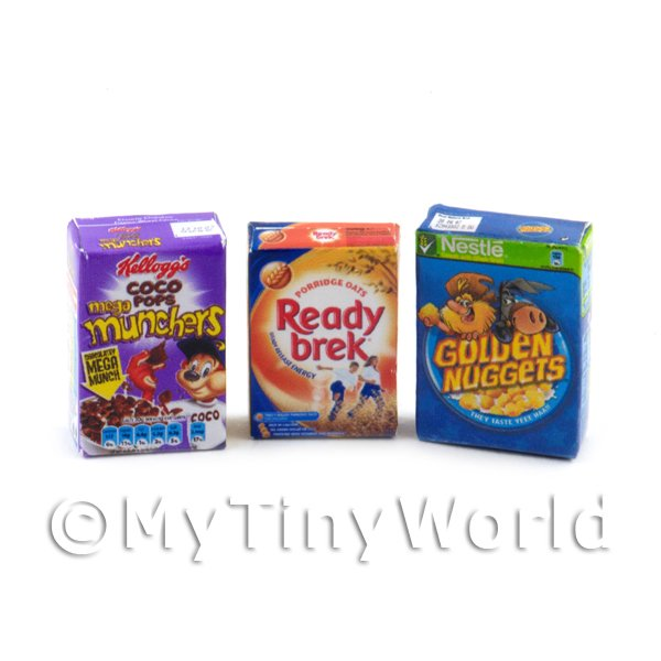 Dolls House Miniature Selection Of  3 Cereal Boxes