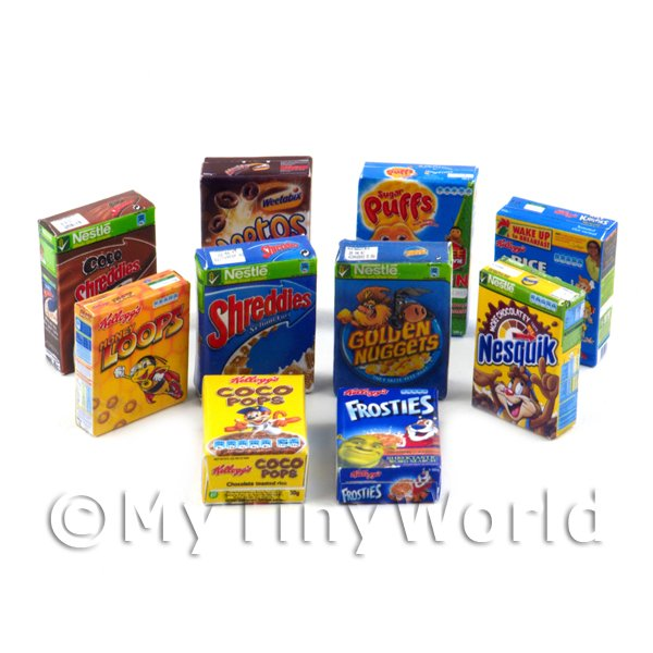 Dolls House Miniature Selection Of 10 Breakfast Cereal Boxes (CB1)