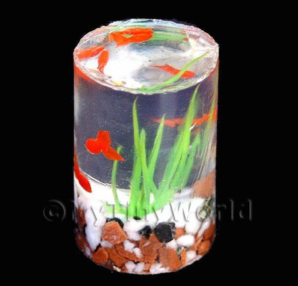 6 Dolls House Miniature Goldfish In a Resin Cylindrical Tank