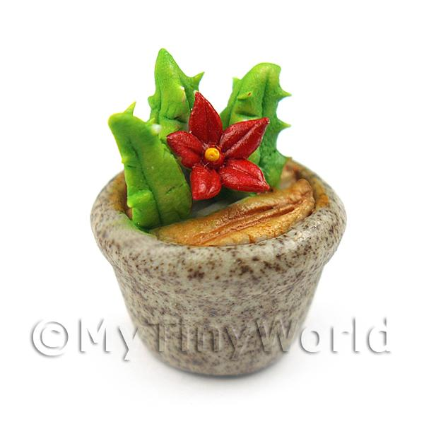 Dolls House Ceramic Cactus With Red Flowers In Stoneware Pot (CCR16)
