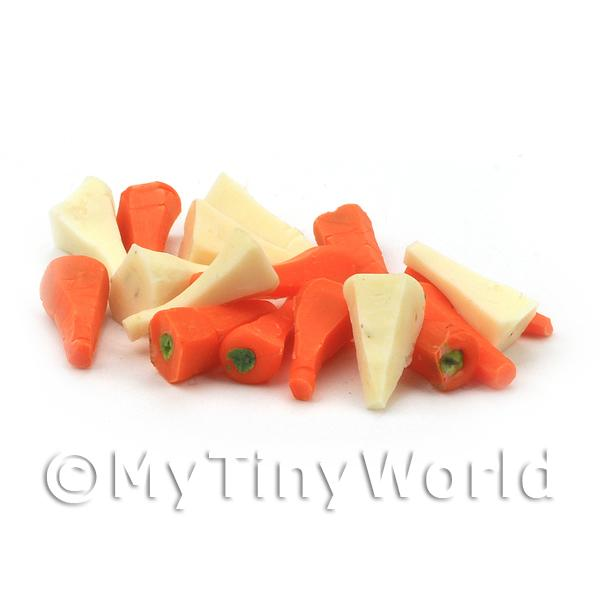 15 Dolls House Miniature Handmade Peeled Carrots and Parsnip