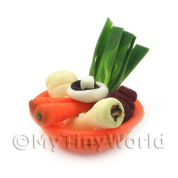 Dolls House Miniature Vegetable Assortment In Orange Bowl