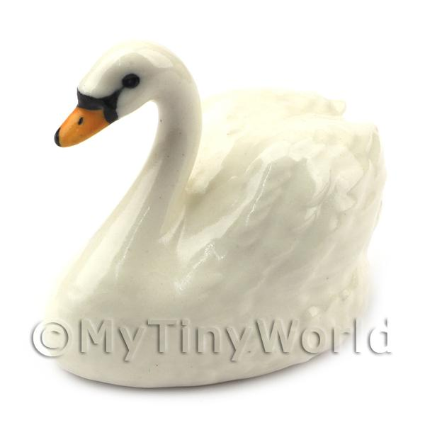Dolls House Miniature Fine Ceramic Adult White Swan