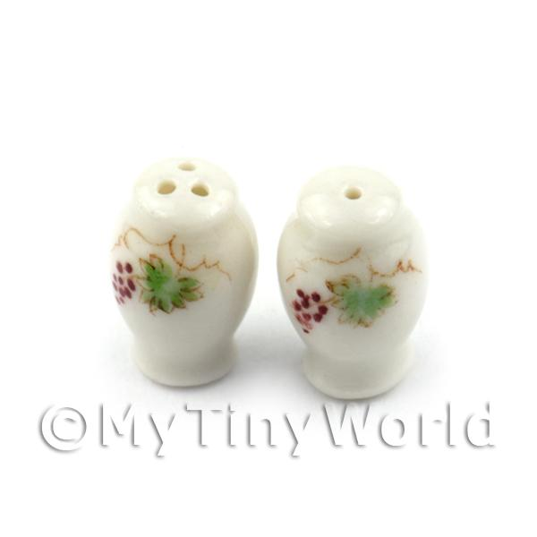 Dolls House Miniature Grape Design Ceramic Salt And Pepper Pot