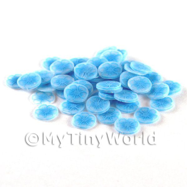 50 Fimo Blue Flower Nail Art Cane Slices (NS48)