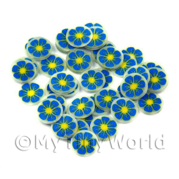 50 Blue and Yellow Nail Art Cane Slices (NS52)