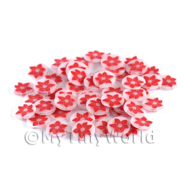 50 Poinsettia Flower Nail Art  Cane Slices (NS54)