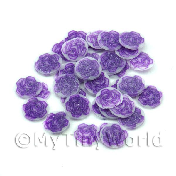 50 Purple Rose Nail Art  Cane Slices (NS71)