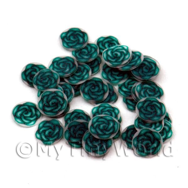 50 Fimo Green Rose Nail Art Cane Slices  (NS73)