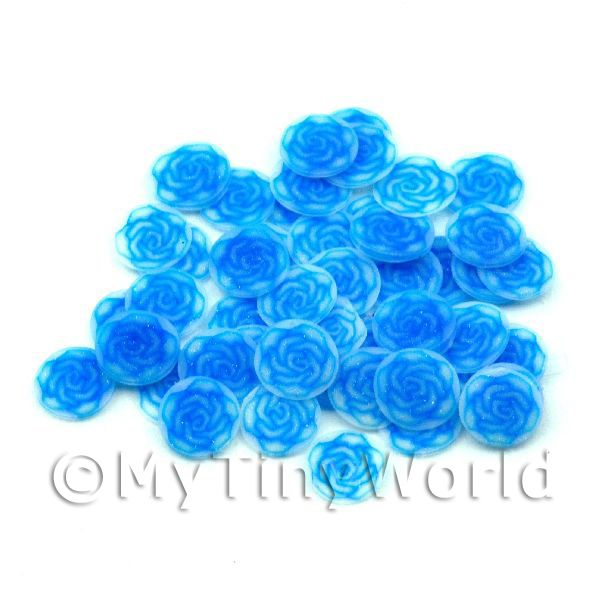 50 Fimo Blue Rose Nail Art Cane Slices (NS74)