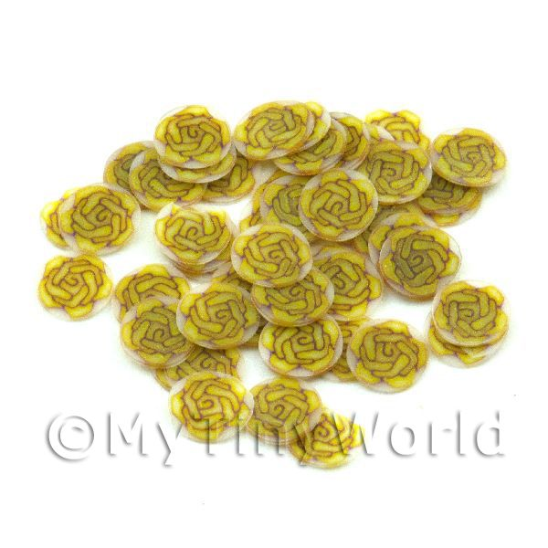 50 Yellow Rose Nail Art  Cane Nail Art Slices (NS75)