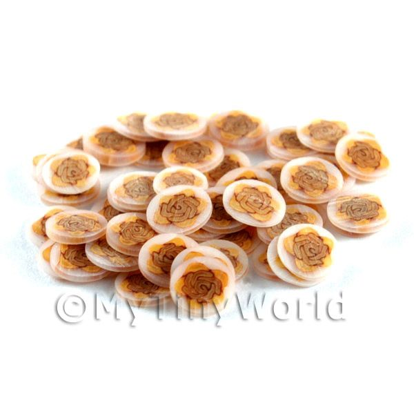 50 Peach Rose Nail Art  Cane Slices (NS76)