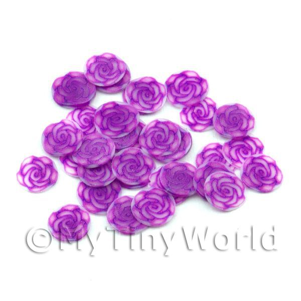 Dolls House Miniature  | 50 Violet Rose Nail Art  Cane Nail Art Slices (NS77)
