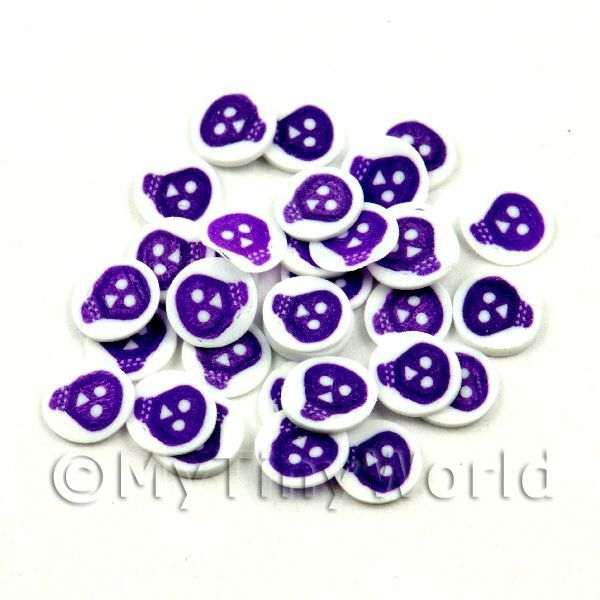 50 Purple and White Skull Cane Slices (NS42)