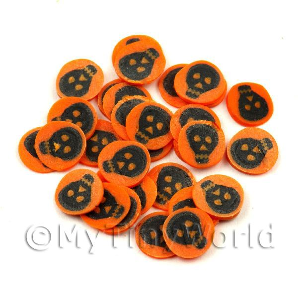 50 Orange and Black Skull Cane Slices (NS43)