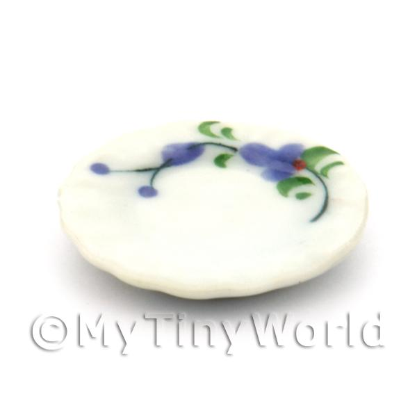 Dolls House Miniature  | Dolls House Miniature Purple Orchid Design Ceramic 22mm Fluted Plate