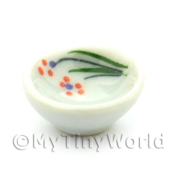 Dolls House Miniature Orange Flower Design 16mm Ceramic Bowl