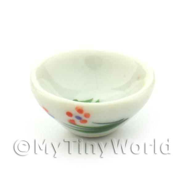 Dolls House Miniature Orange Flower Design 15mm Ceramic Bowl