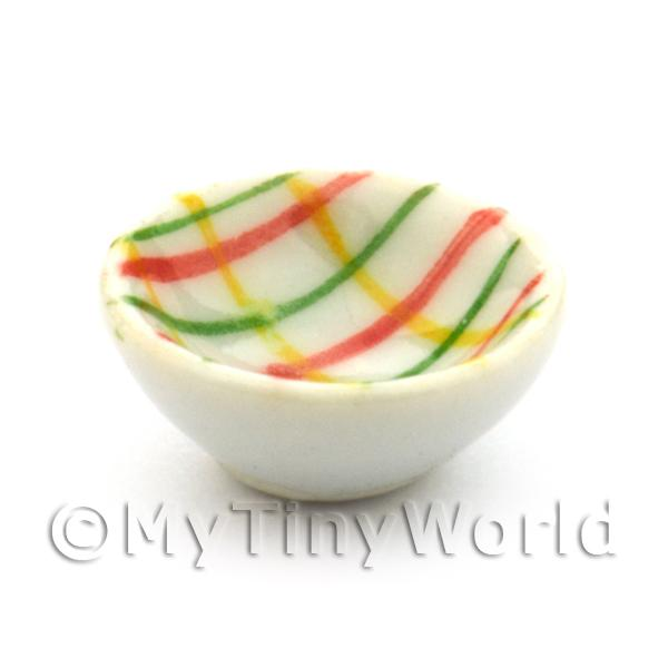 Dolls House Miniature  | Dolls House Miniature Crosshatch Pattern 16mm Ceramic Bowl