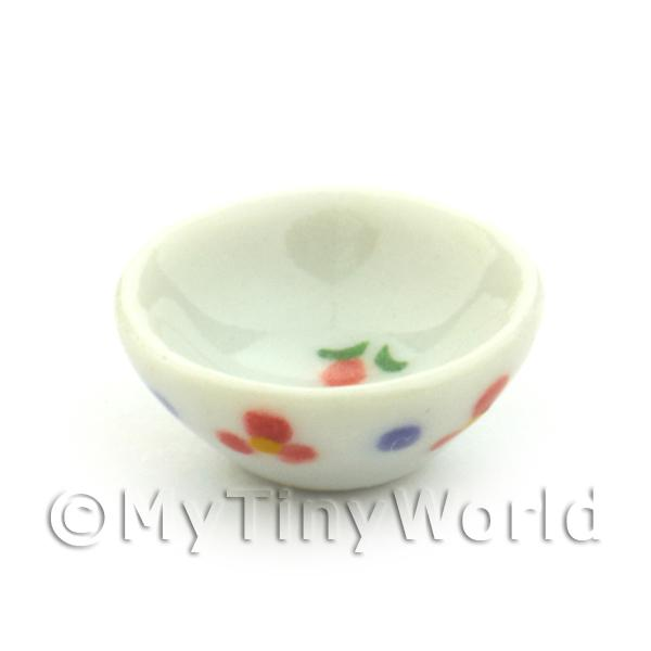 Dolls House Miniature Flower Design 15mm Ceramic Bowl