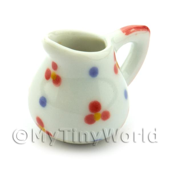 Dolls House Miniature Flower Design Ceramic Jug