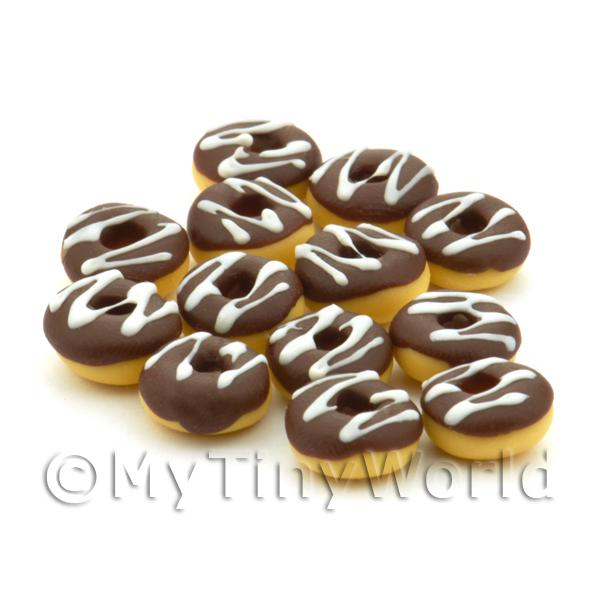 Dolls House Miniature  | Dolls House Miniature Chocolate And White Iced Donut