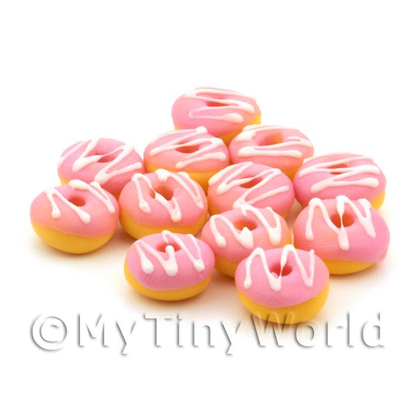 Dolls House Miniature Pink Glazed White Iced Donut