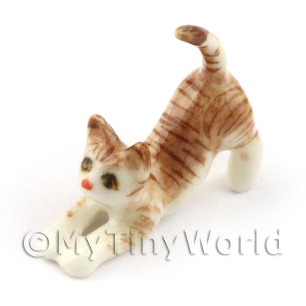 Dolls House Miniature  Ceramic Stretching Tabby Cat