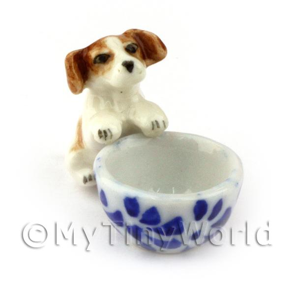 Dolls House Miniature  | Dolls House Miniature Ceramic Begging Jack Russell Puppy