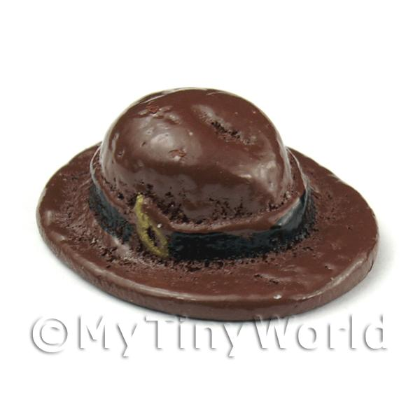 Dolls House Miniature Womens Resin Brown Hat