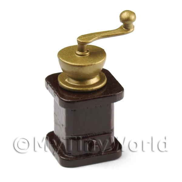 Dolls House Miniature Tall Wood and Metal Coffee Grinder
