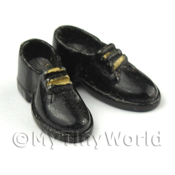 Dolls House Miniature  | Dolls House Miniature Resin Black And Gold Mens Shoes