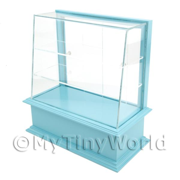 Miniature Small Pale Blue Wood Cake / Food Display Counter