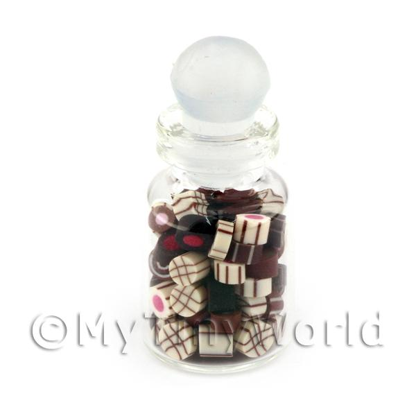 Dolls House Miniature Handmade Mixed Chocolates In A Glass Jar