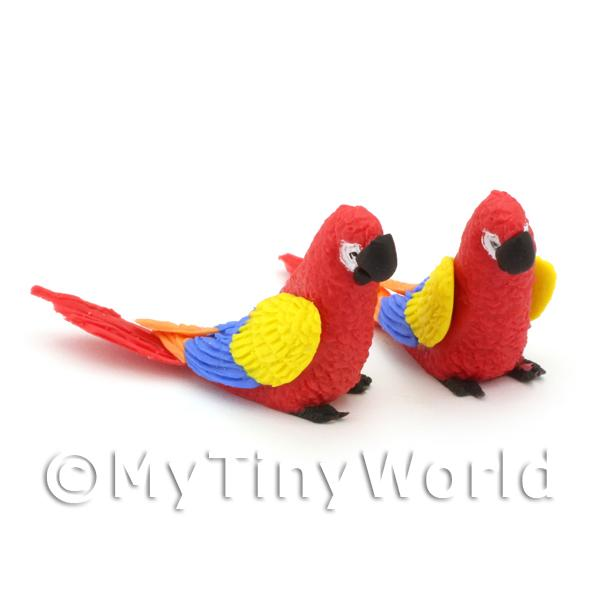 Dolls House Miniature  | Pair of Dolls House Miniature Handmade Air Dried Clay Red Parrots