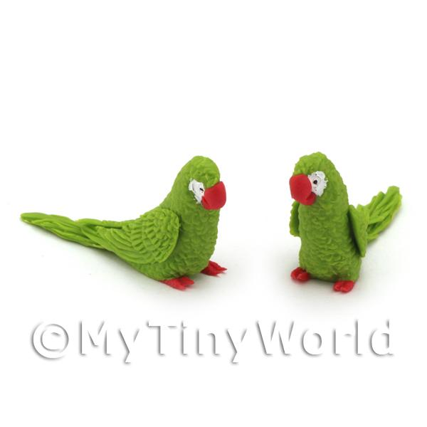 Dolls House Miniature  | Pair of Dolls House Miniature Handmade Air Dried Clay Green Parrots