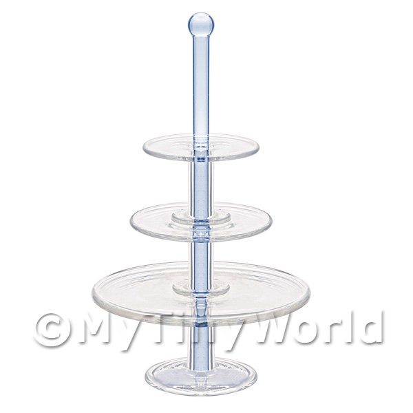 Dolls House Miniature Handmade Large Blue 3 Tier Glass Cake Stand