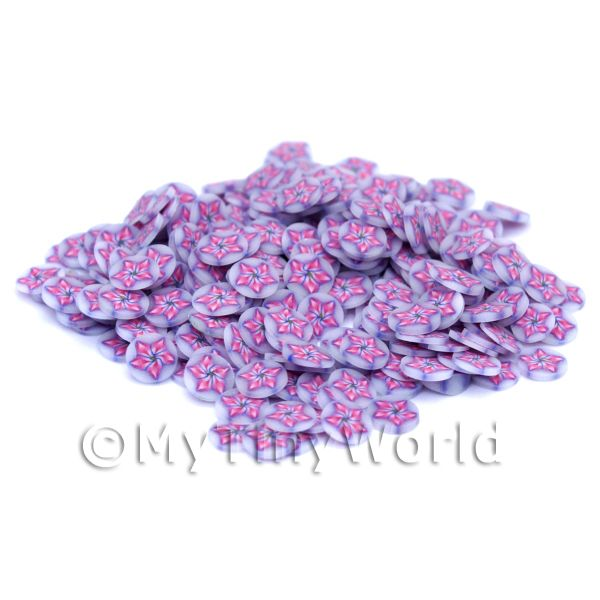 Dolls House Miniature  | 50 Purple Flower Nail Art  Cane Slices (NS1)