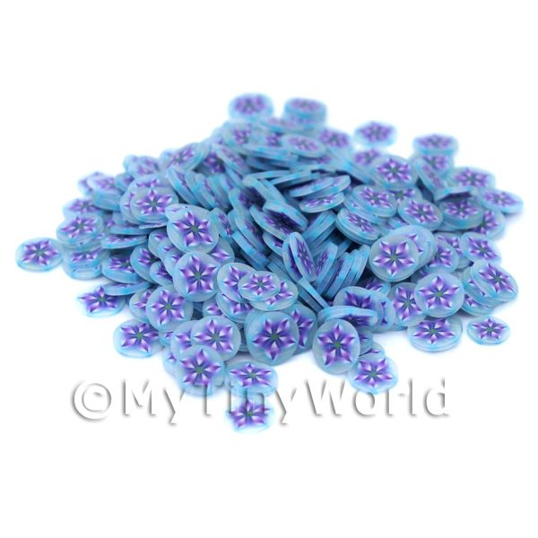 Dolls House Miniature  | 50 Blue Flower Nail Art  Cane Slices (NS8)