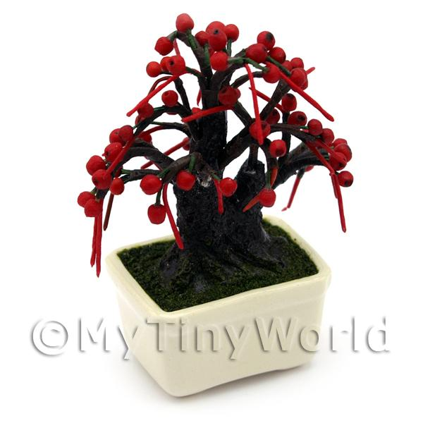 Dolls House Miniature Red Fruiting Bonsai Tree