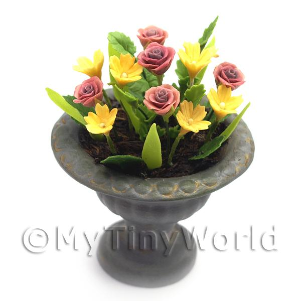 Dolls House Miniature  | Dolls House Miniature Red and Yellow Roses in a Roman Urn