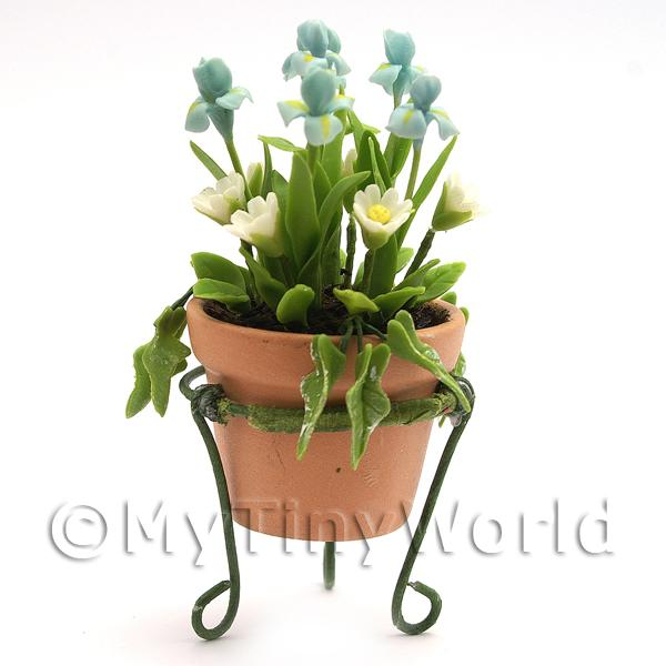 Dolls House Miniature  | Dolls House Miniature Blue and White Flowers In A Standing Pot