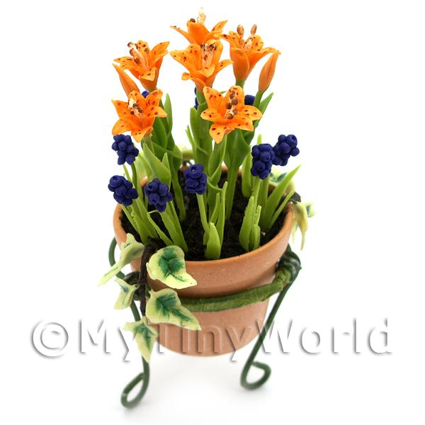 Dolls House Miniature  | Miniature Orange   Blue Flowers In A Standing Pot